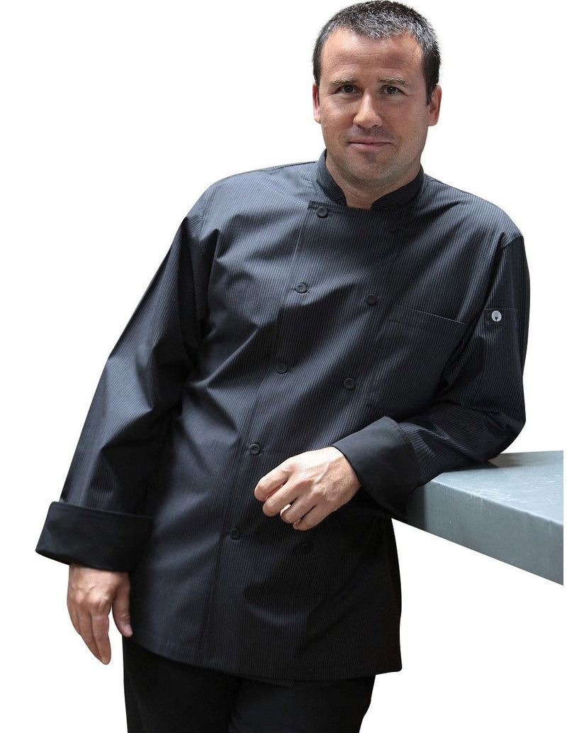 Carlisle Men's Stripe Chef Coat by Chef Works Black Front Profile
