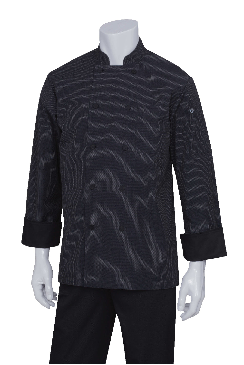 Carlisle Men's Executive Stripe Chef Coat by Chef Works Black Front