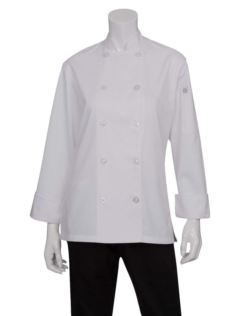 Le Mans Women's Basic Chef Coat by Chef Works White Front Profile