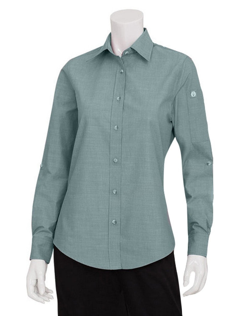 Chef Works Women's Chambray Dress Shirt Green Mist