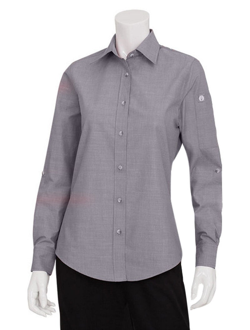 Chef Works Women's Chambray Dress Shirt Grey