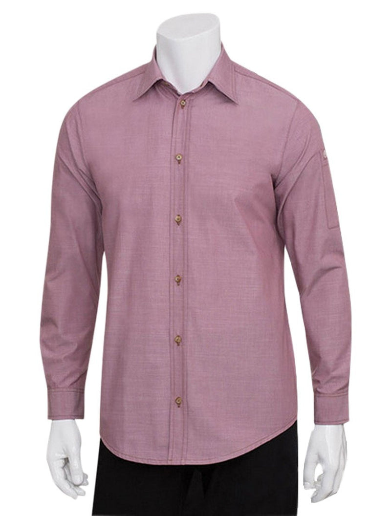 Chef Works Mens Chambray Dress Shirt Dusty Rose