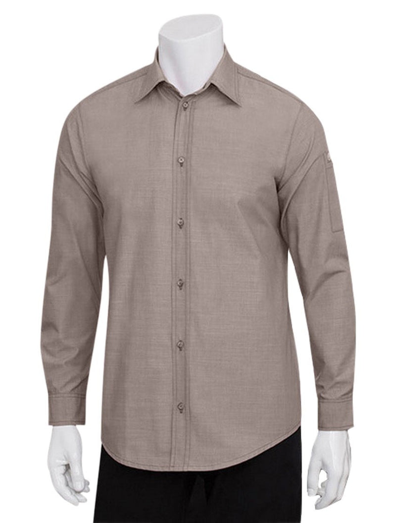 Chef Works Mens Chambray Dress Shirt Ecru