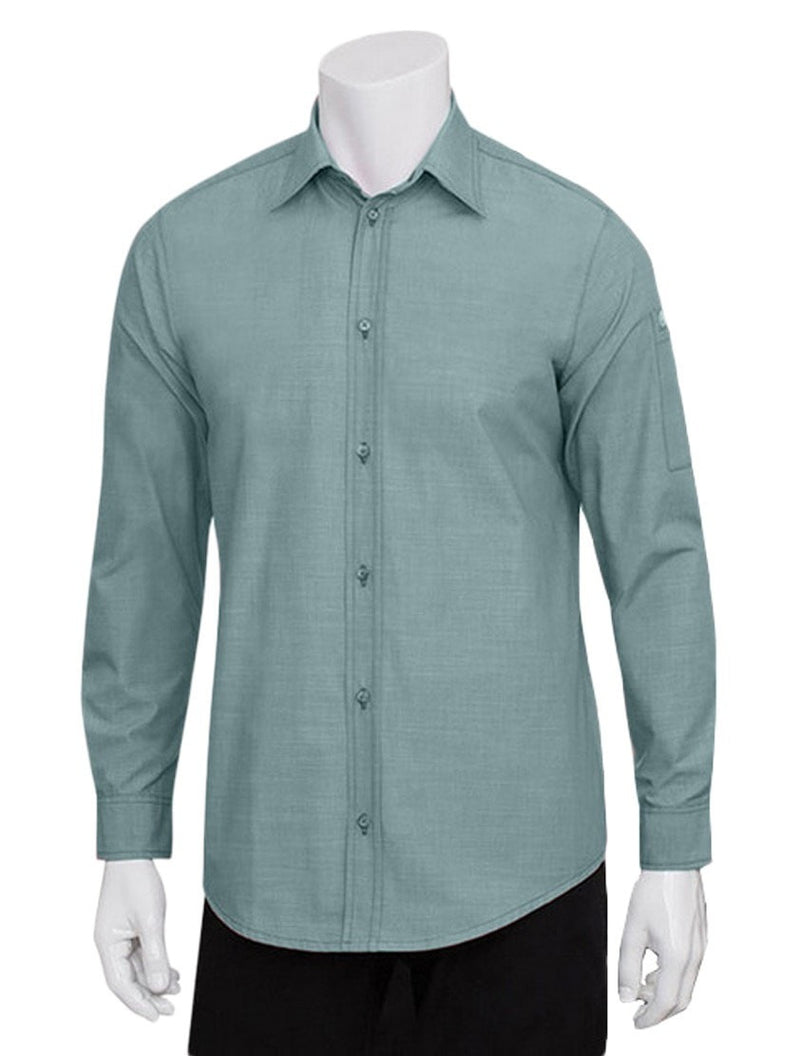 Chef Works Mens Chambray Dress Shirt Green Mist