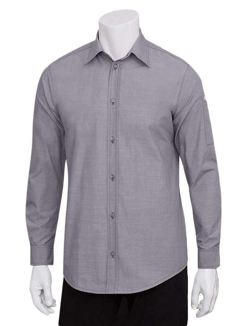 Chef Works Mens Chambray Dress Shirt Grey