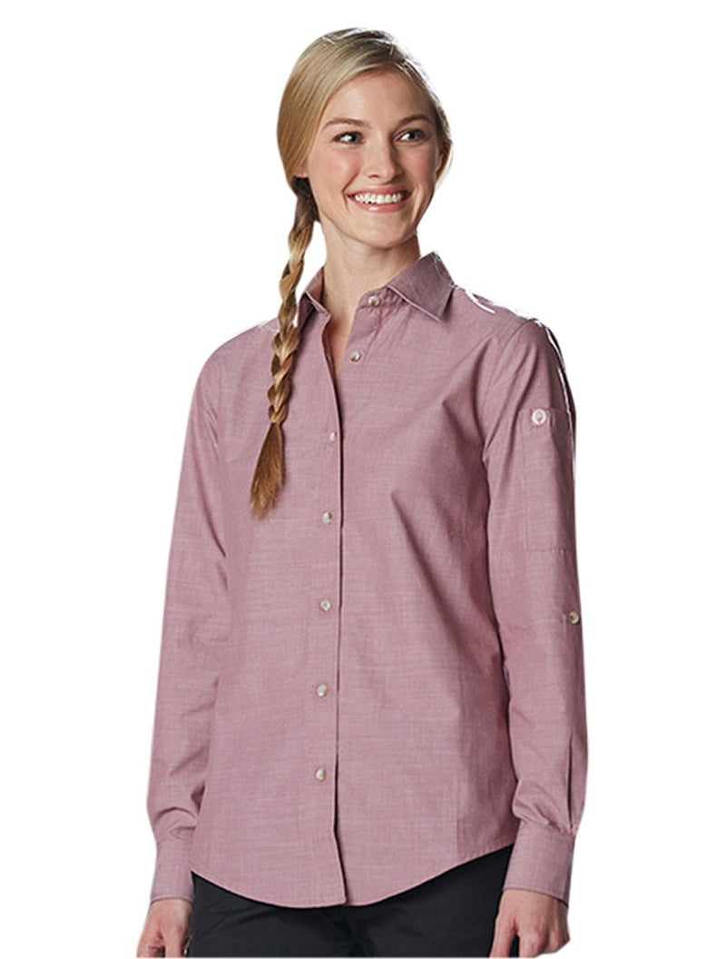 Chef Works Women's Chambray Dress Shirt Dusty Rose