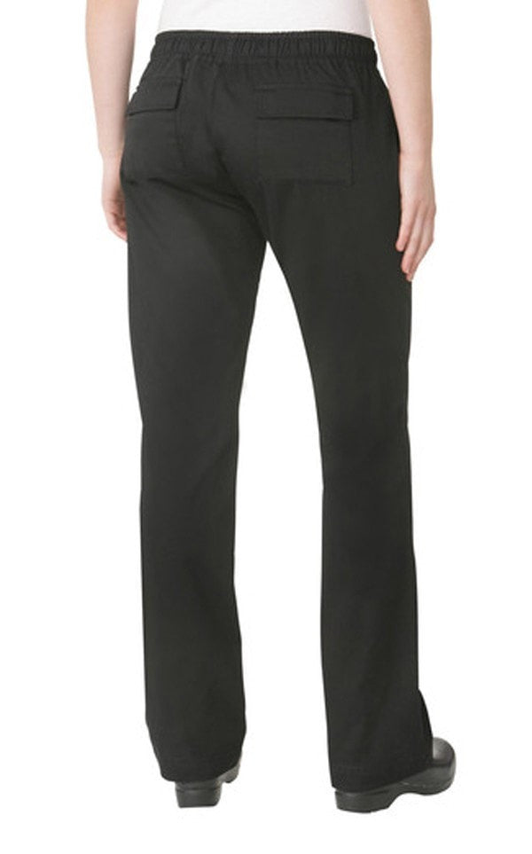 Chef Works Women's Black Chef Pants Back View