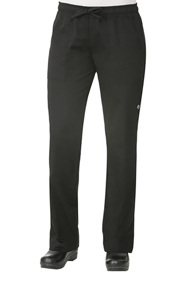 Chef Works Women's Black Chef Pants Front View