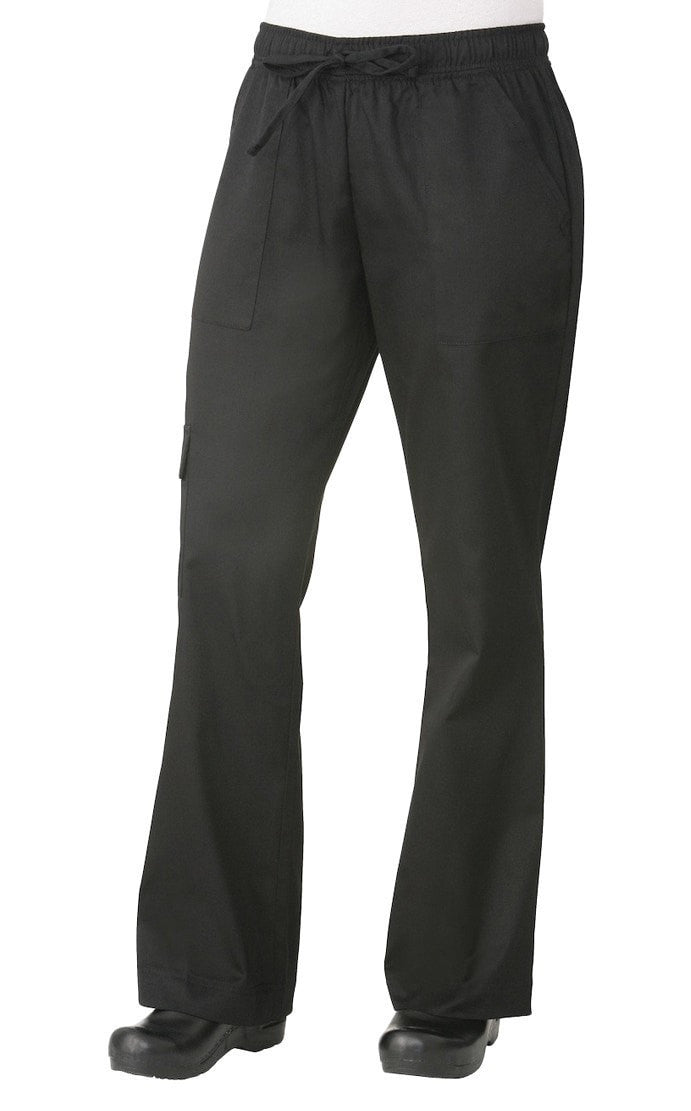 Cargo Women's Chef Pants by Chef Works Black Front