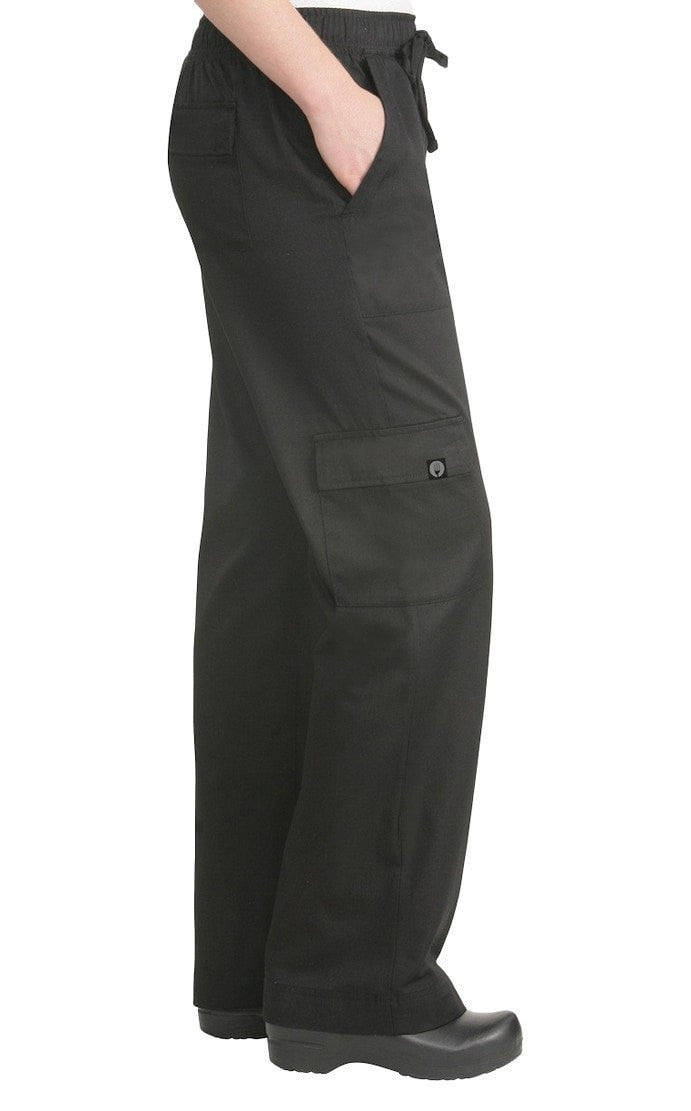 Cargo Women's Chef Pants by Chef Works Black Side