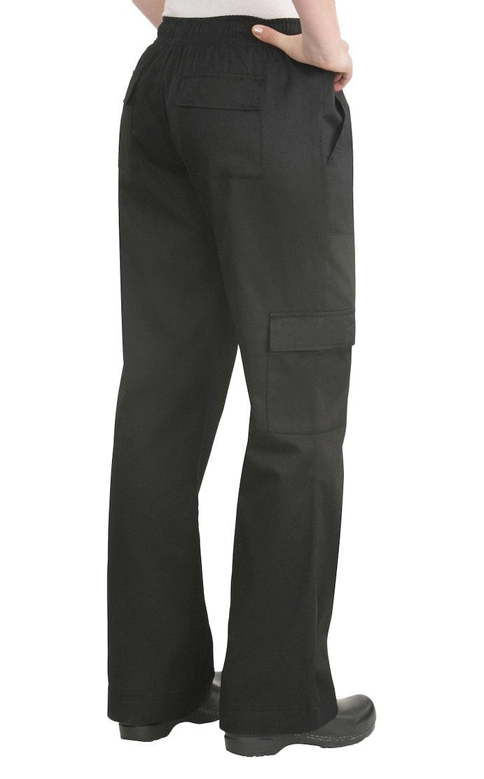 Cargo Women's Chef Pants by Chef Works Black Back Side