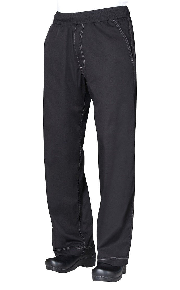Cool Vent Mens Baggy Chef Pants by Chef Works Black Front