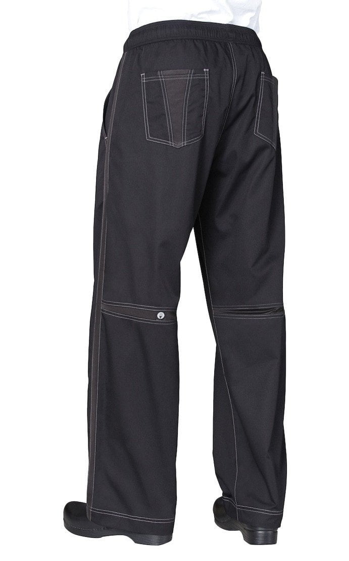 Cool Vent Mens Baggy Chef Pants by Chef Works Black Back w/ Pocket