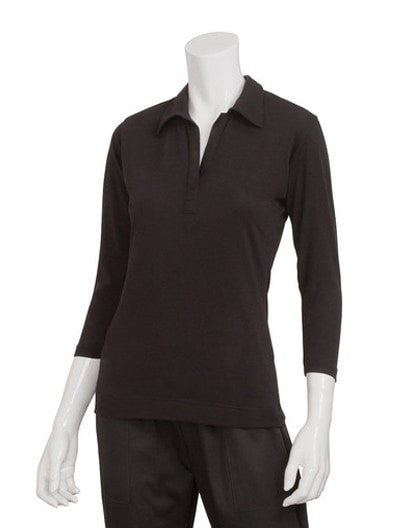 Definity Women's Knit Shirt by Chef Works Black Front