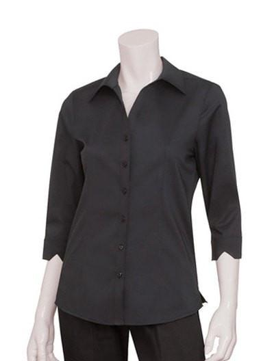 Chef Works Finesse Women's 3/4-Sleeve Shirt Black Front