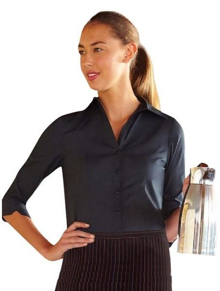 Chef Works Finesse Women's 3/4-Sleeve Shirt Black Front Profile