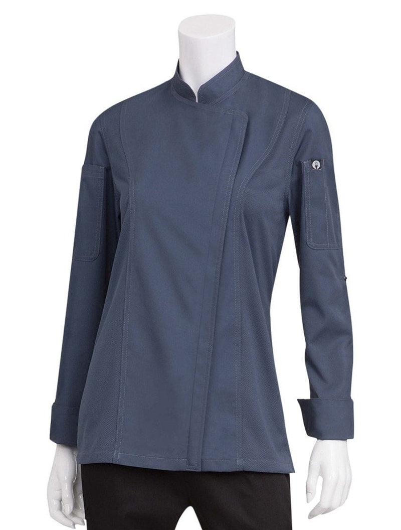 Chef Works Women's Hartford Chef Coat Slate Blue
