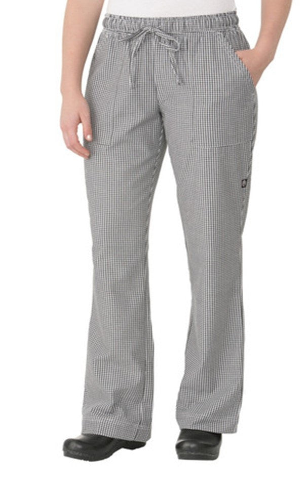 chef works womens small check pants black and white front check small