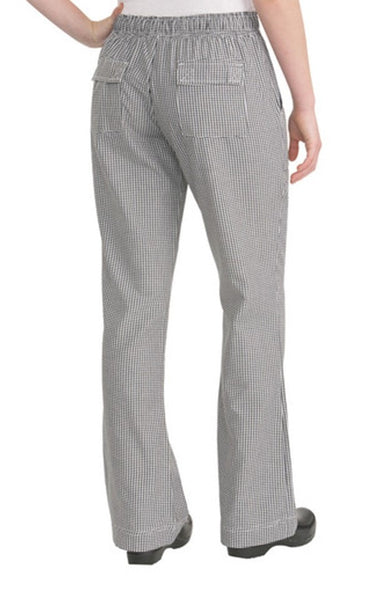 chef works womens small check pants black and white back check small