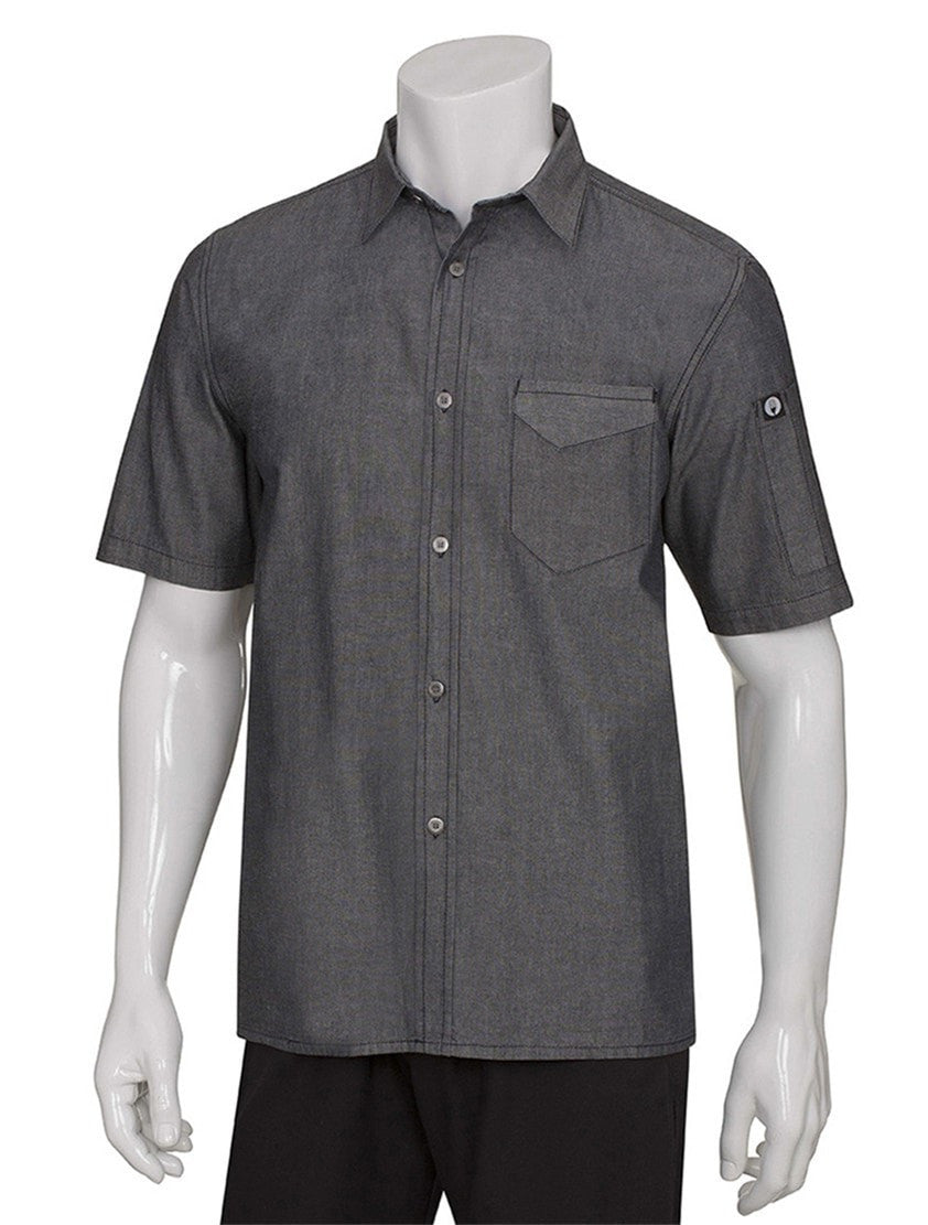 Chef Works Detroit Short Sleeve Denim Shirt Black