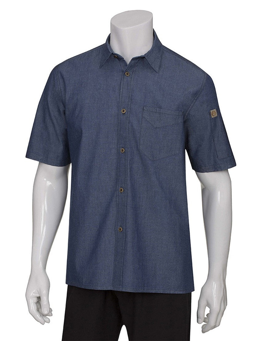 Chef Works Detroit Short Sleeve Denim Shirt Indigo Blue
