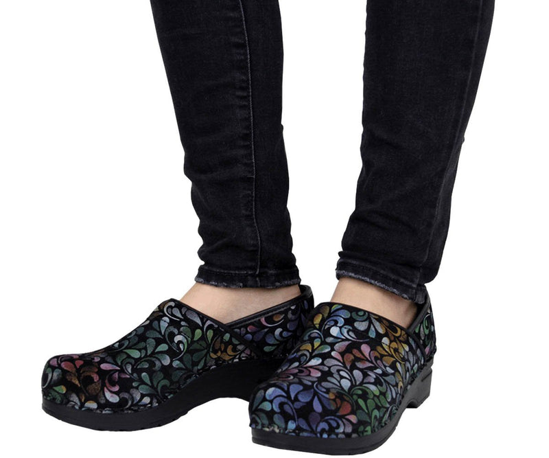 Sanita Plume Women's Printed Leather Multi Chef Clog - life style view