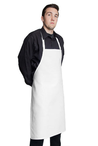 "Fiumara Apparel White Basic Bib Apron w/ No Pockets 35""L x 28""W"