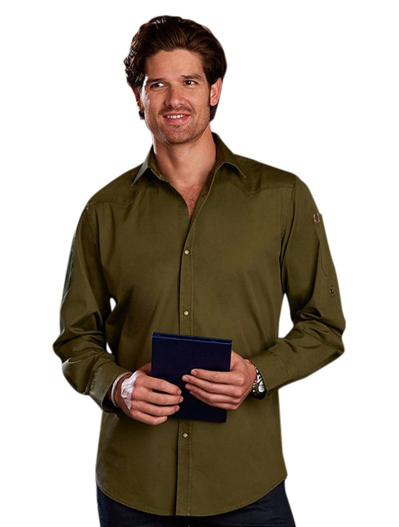 Chef Work Men's Fremont Denim Shirt Olive Brown