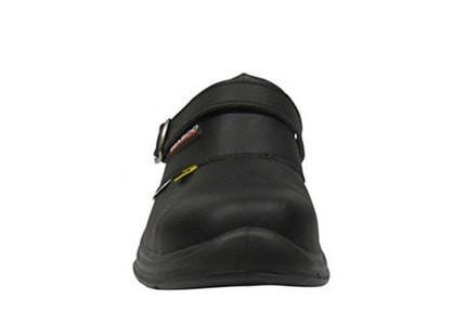 "Giasco ""Free"" Semi Open-Back Leather Work Shoe Black Strap Up - Front"