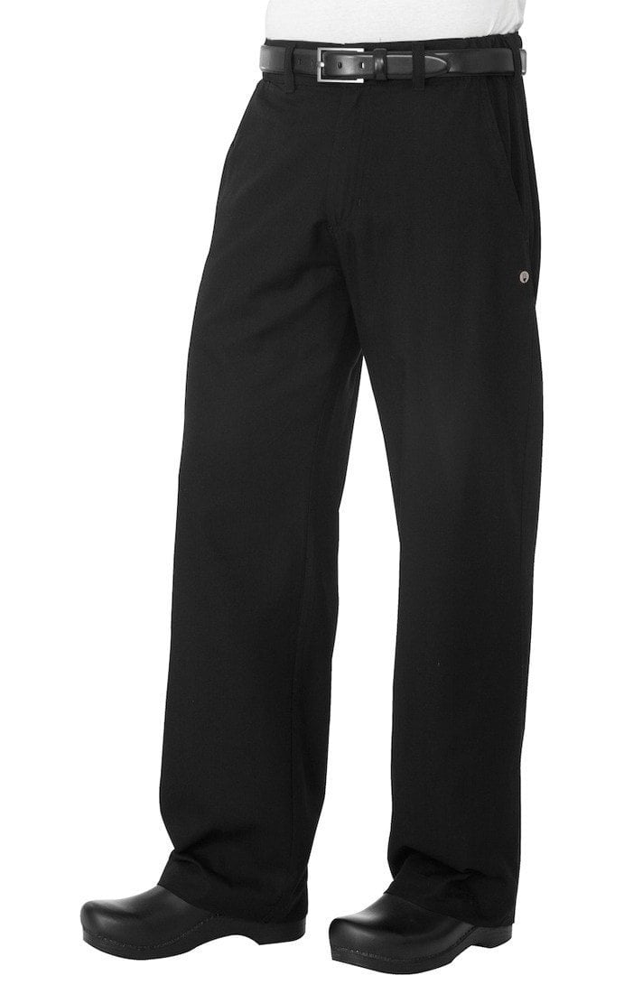 Professional Series Mens Black Chef Pants by Chef Works Black Front
