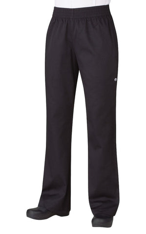 Women's Basic Baggy Pants by Chef Works Black Front