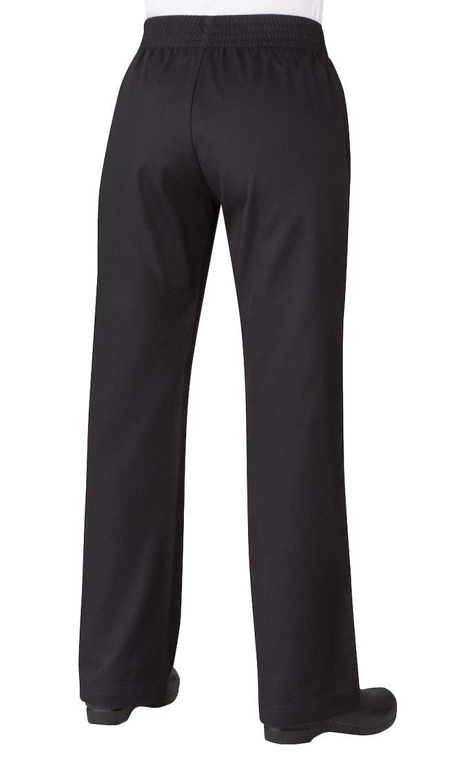 Women's Basic Baggy Pants by Chef Works Black Back