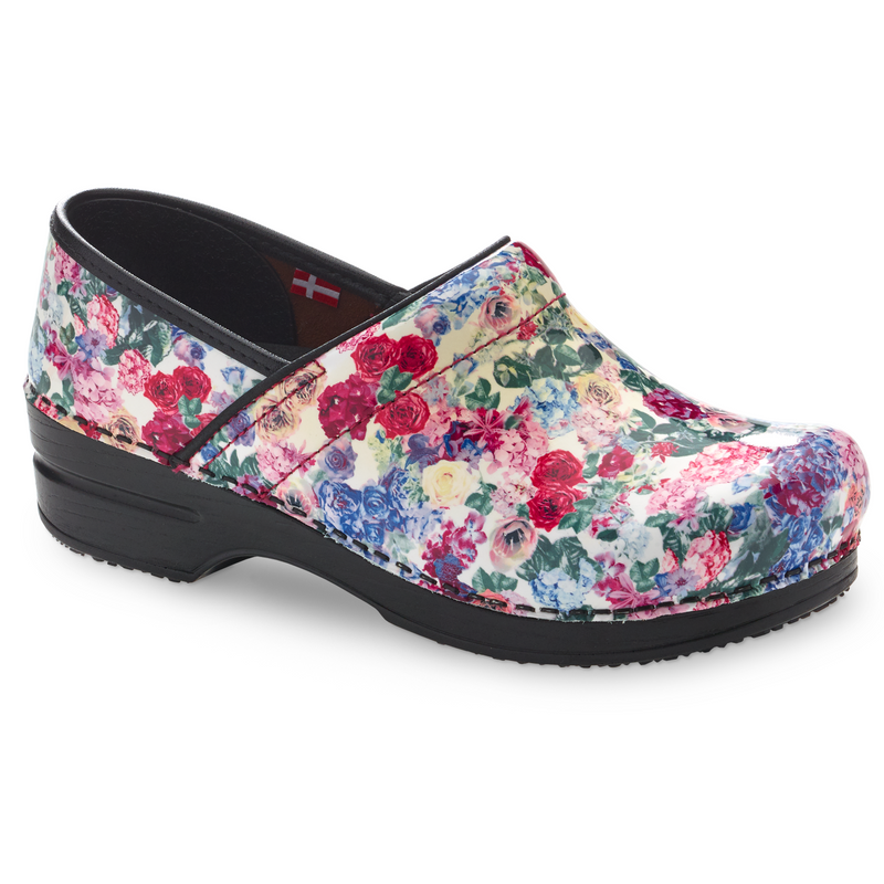 Sanita Cabot Women's Rose Flower Print Chef Clog - side view