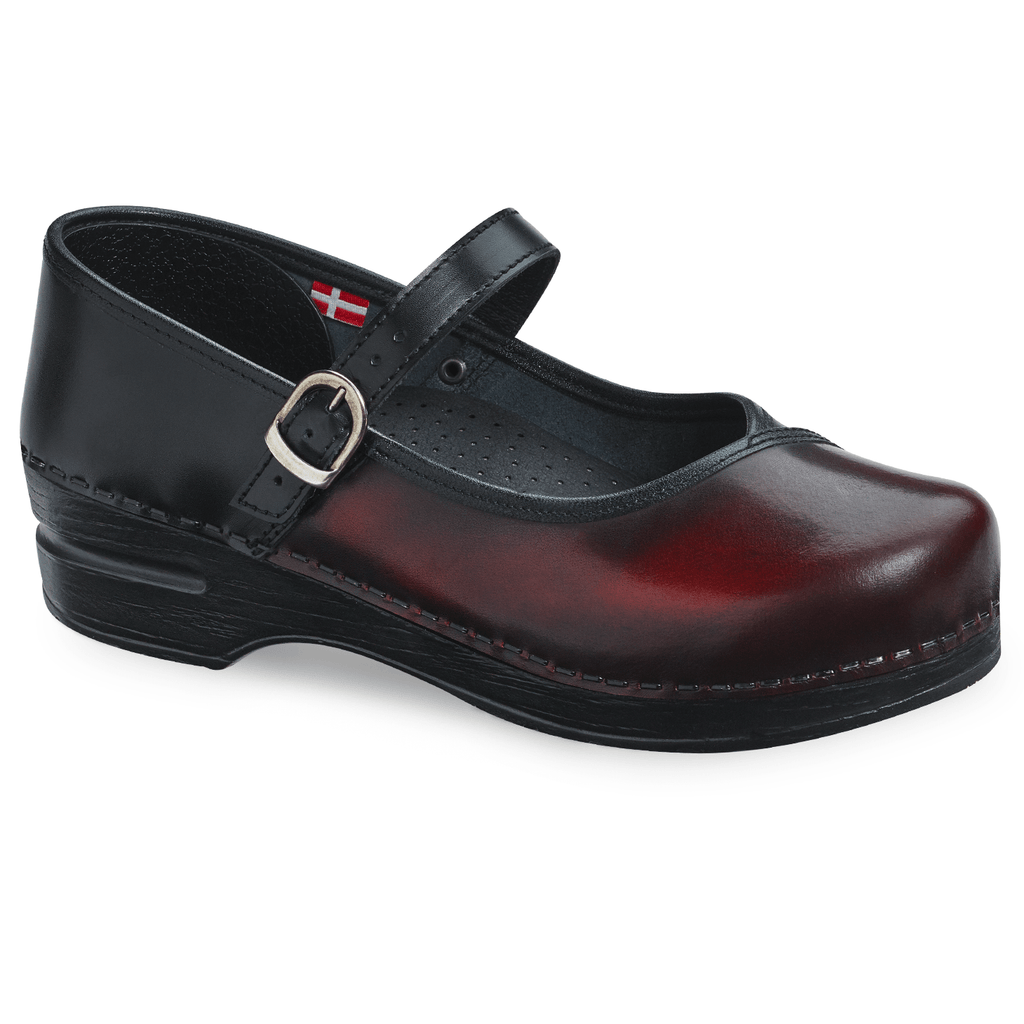 Sanita Everly Women's Closed-Back Black/Bordeaux Chef Shoe - side view