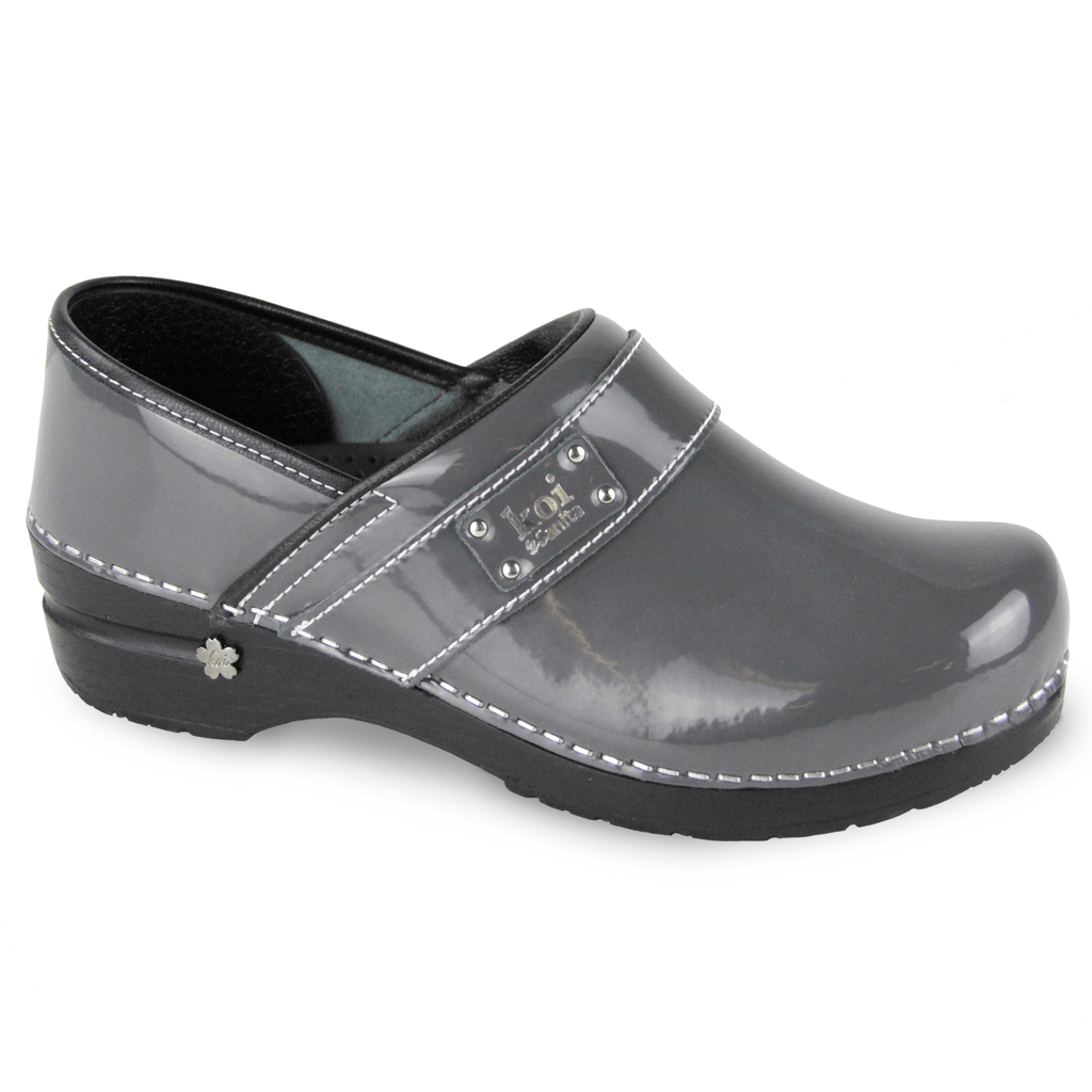 Sanita Lindsey Women's Patent Leather Chef Clog - side view grey