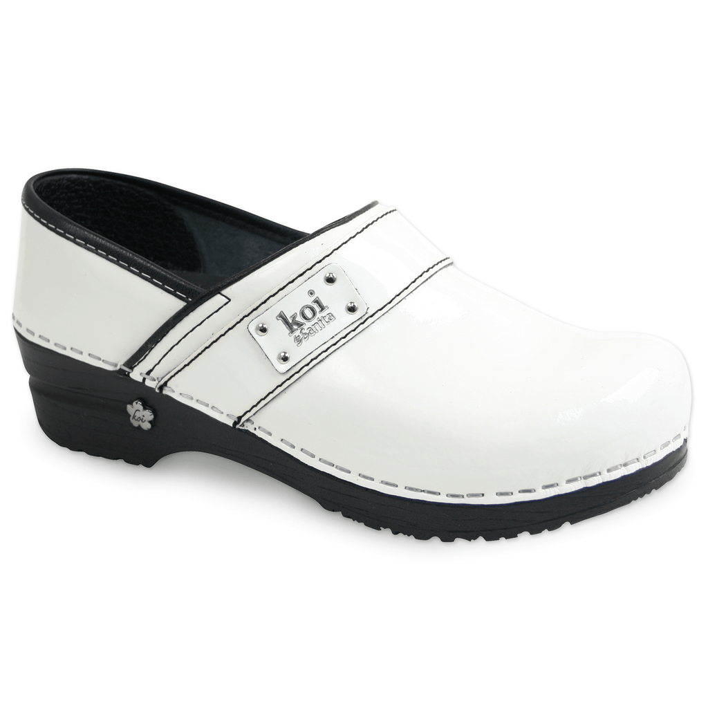 Sanita Lindsey Women's Patent Leather Chef Clog - side view white