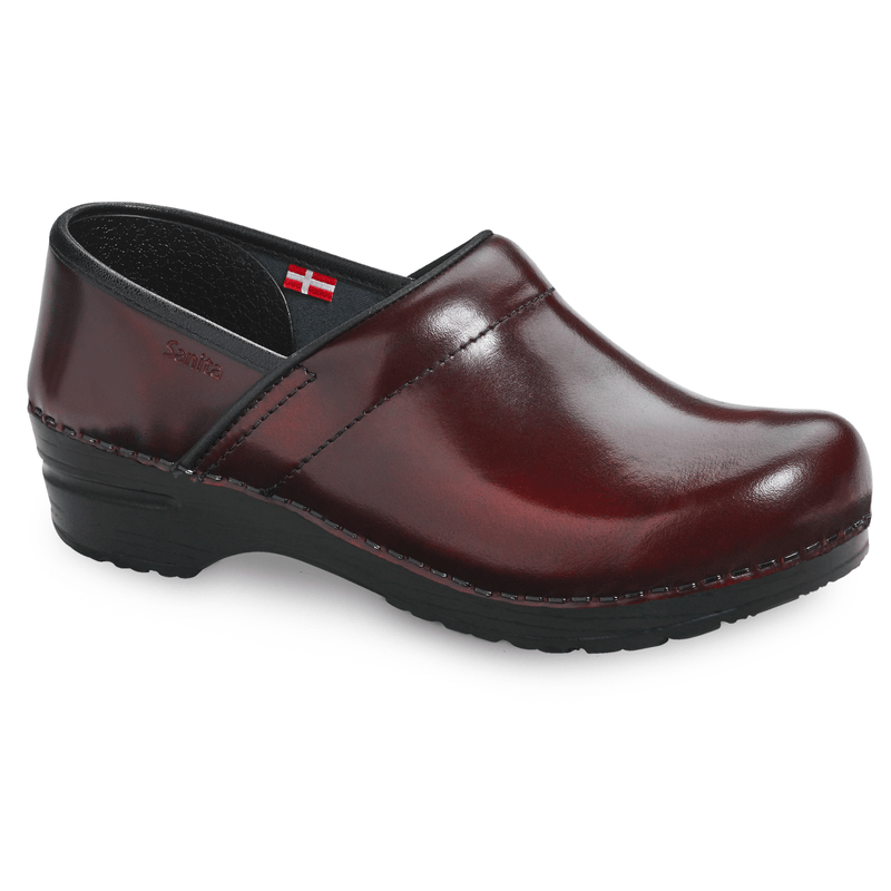 Sanita Pro. Cabrio Women's Bordeaux Chef Clog -  side view