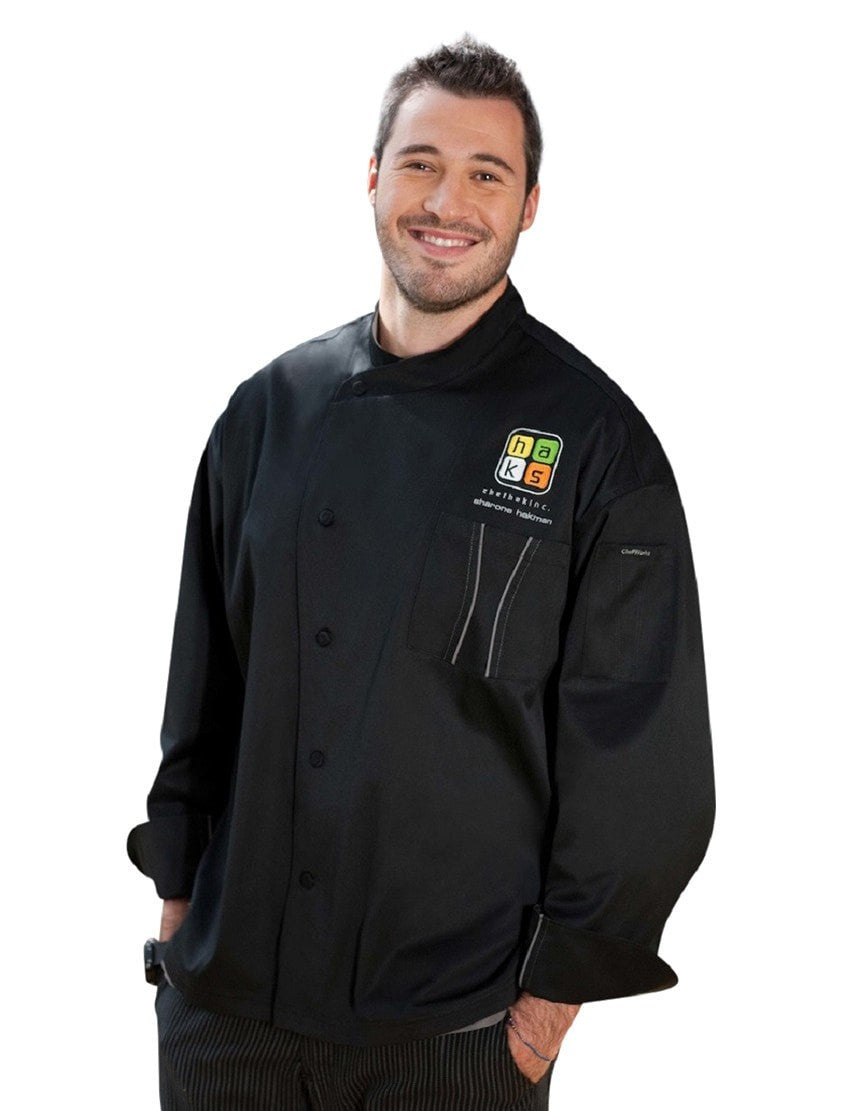 Manteau Chef Amalfi Signature Series par Chef Works Profil frontal noir avec un exemple de logo