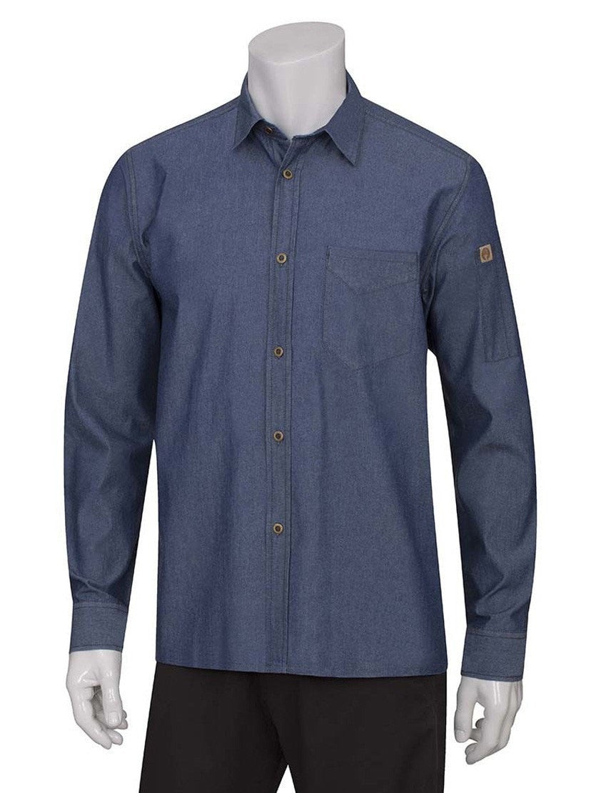 Chef Works Detroit Long Sleeve Shirt Blue Indigo