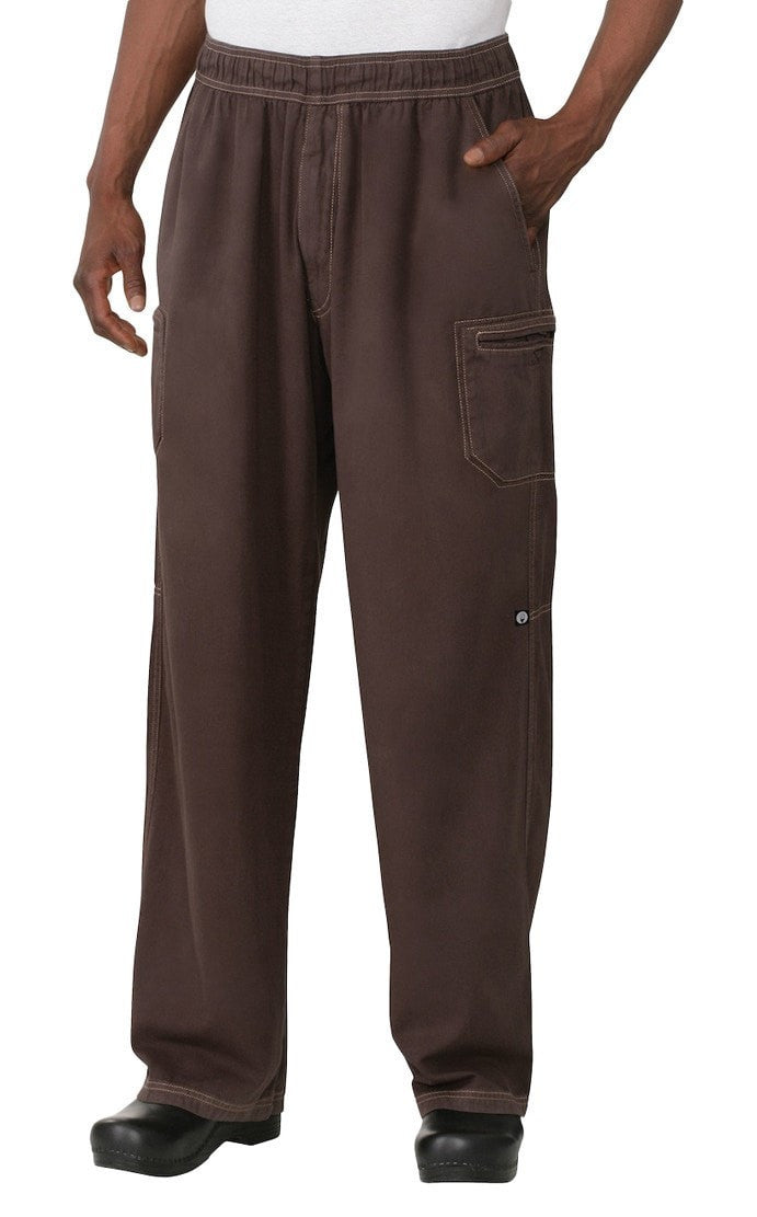 Enzyme Utility Chocolate Brown Chef Pants by Chef Works Front