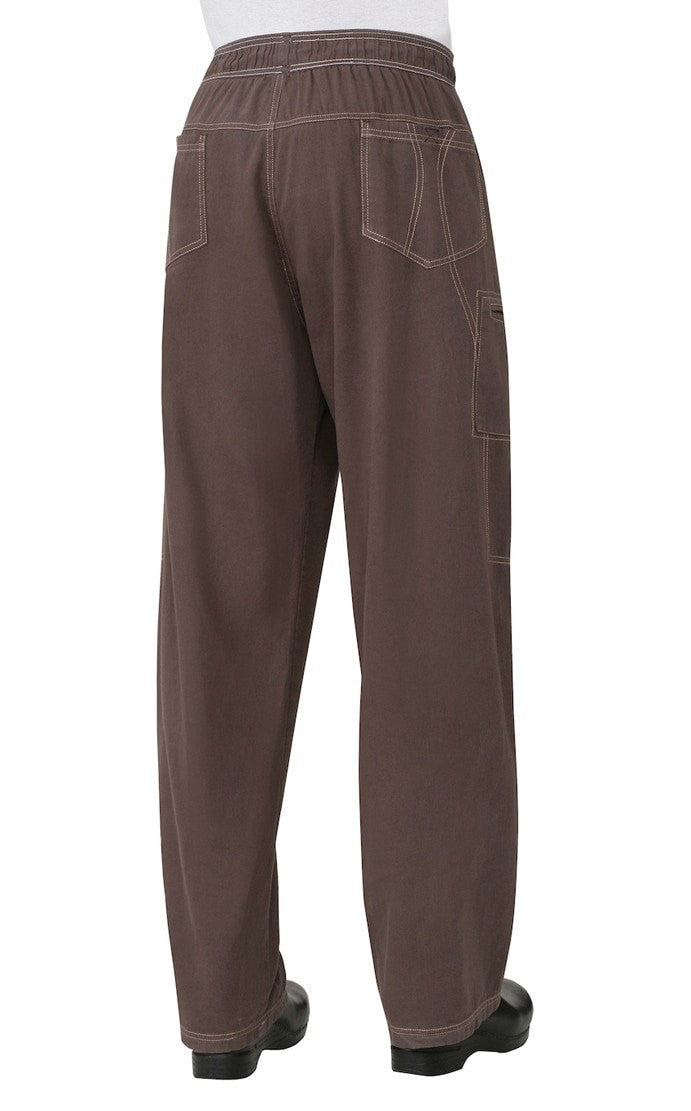 Enzyme Utility Chocolate Brown Chef Pants by Chef Works Back