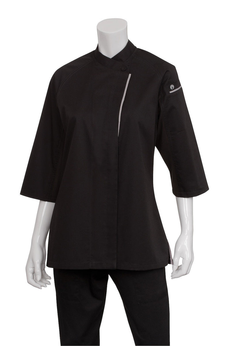 V-series Verona Women's Chef Coat by Chef Works Black Front