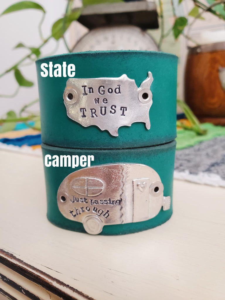 Pewter USA state blank or Camper leather cuff
