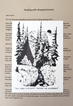 Pathway through the wilderness (Dealing with DISAPPOINTMENT) - letter and card only