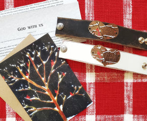 "Cardinal leather cuff (includes ""God with us"" letter and art-card)"