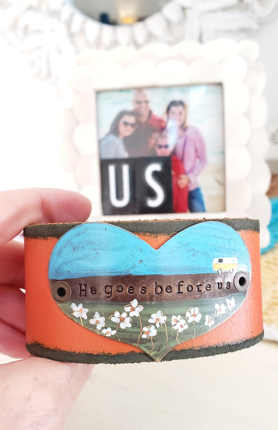 Camper cuff (includes He Goes Before Us letter and card)
