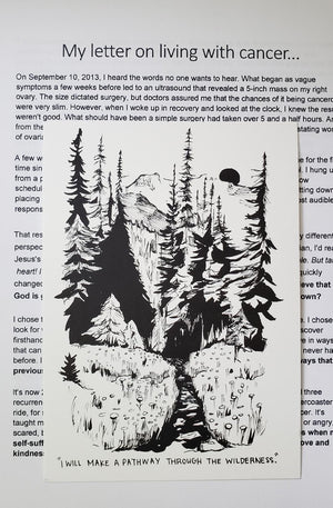 Pathway through the wilderness (LIVING WITH CANCER) - *letter and card only