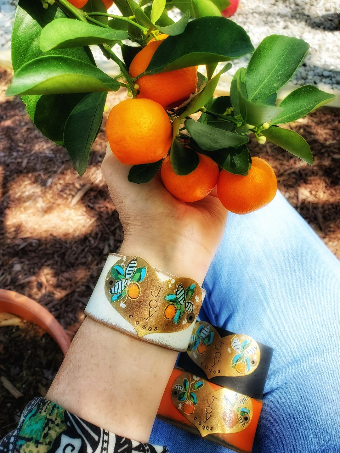 Orange blossom cuff (includes Joy Comes letter and card)