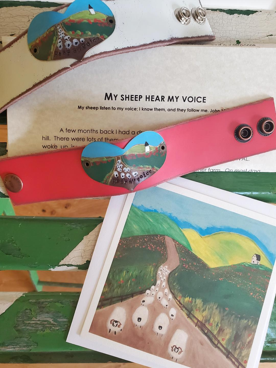 """Hear my voice"" leather cuff (includes ""My sheep hear my voice"" letter and card)"