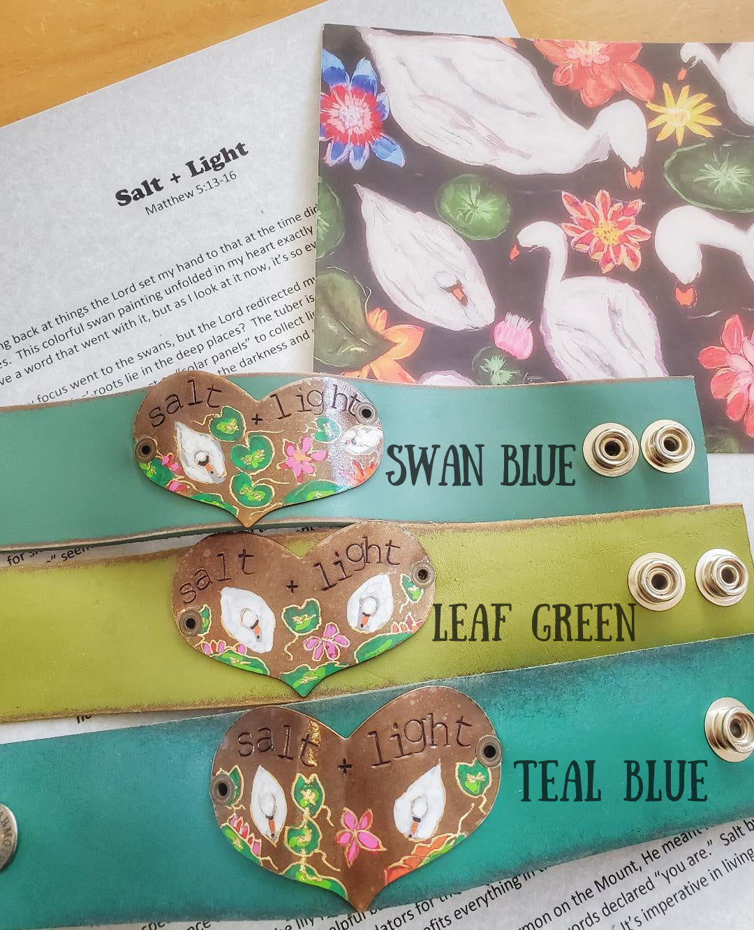 "Swan and lily pad leather cuff (includes ""Salt + Light"" letter and art-card)"